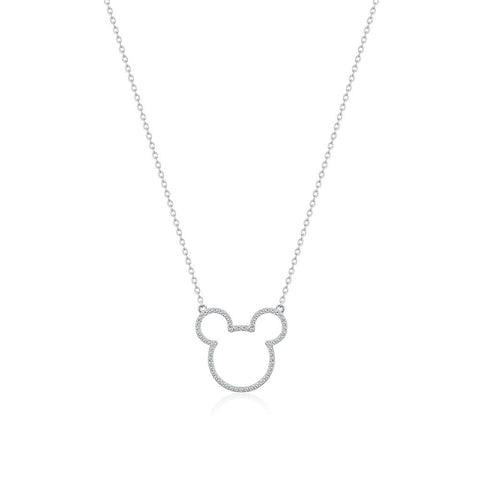 Mickey Mouse Precious Metal Crystal Outline Necklace