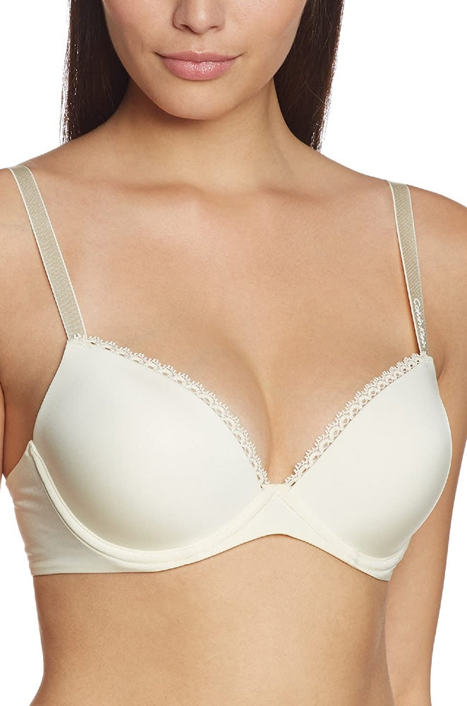 Calvin Klein Womens Seductive Comfort Customised Lift Bra Ivory