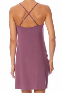 Calvin Klein Womens V Neck Satin Chemise Light Plum
