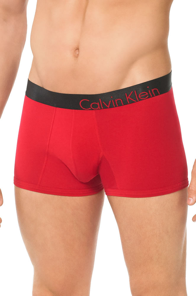Calvin Klein Mens Bold Cotton Trunk Flame Red
