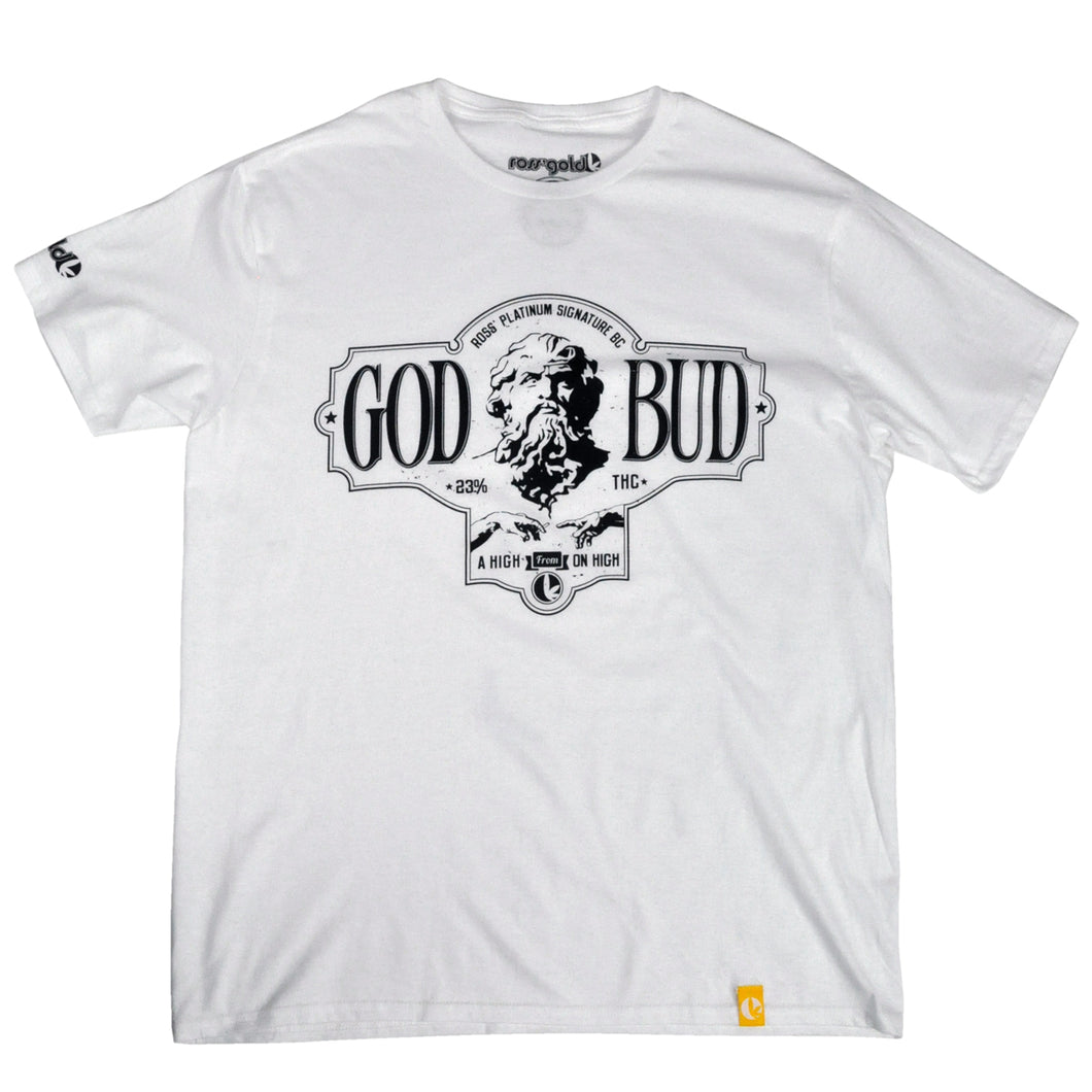 ROSS' GOLD GOD BUD WHITE MEN'S T-SHIRT