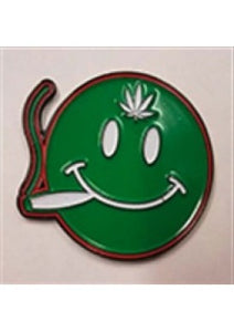 SMILEY FACE JOINT SMOKER HAT PIN