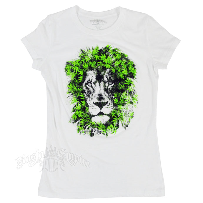 RASTAEMPIRE LION CANNABIS LEAVES WHITE T-SHIRT WOMEN'S