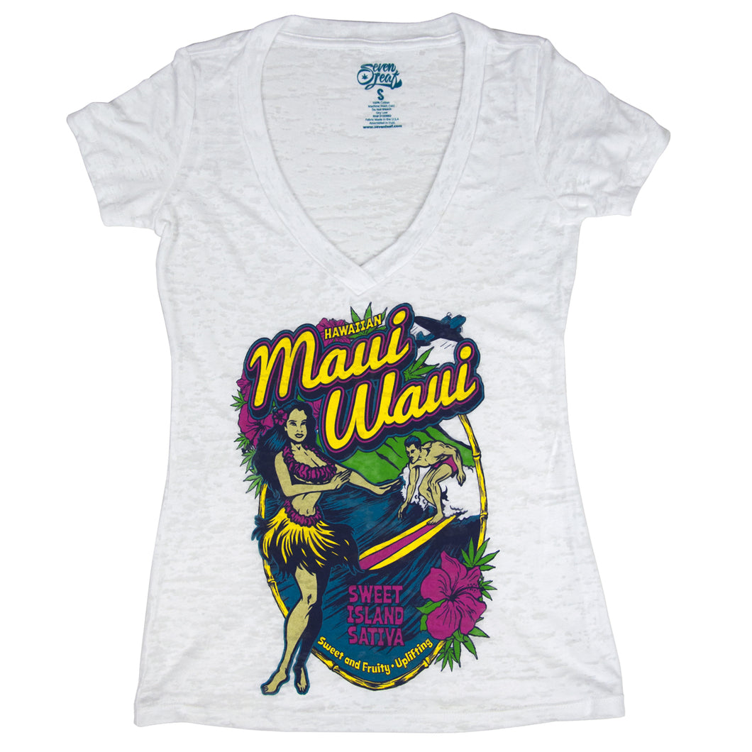 SEVEN LEAF MAUI WAUI BURNOUT DEEP V-NECK WHITE SHIRT WOMEN'S