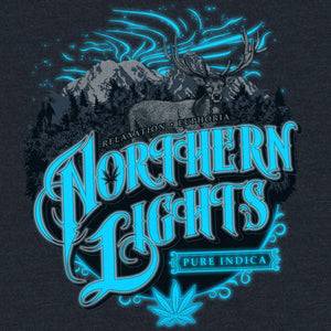 SEVEN LEAF NORTHERN LIGHTS STRAIN BLACK LIGHT RUSSIAN BLUE T-SHIRT MEN'S