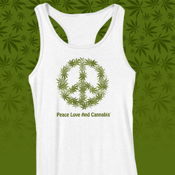 PEACE, LOVE AND CANNABIS ERBIVORE WHITE TANK TOP
