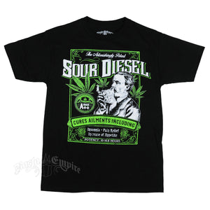 SEVEN LEAF SOUR DIESEL STRAIN BLACK T-SHIRTS MEN'S
