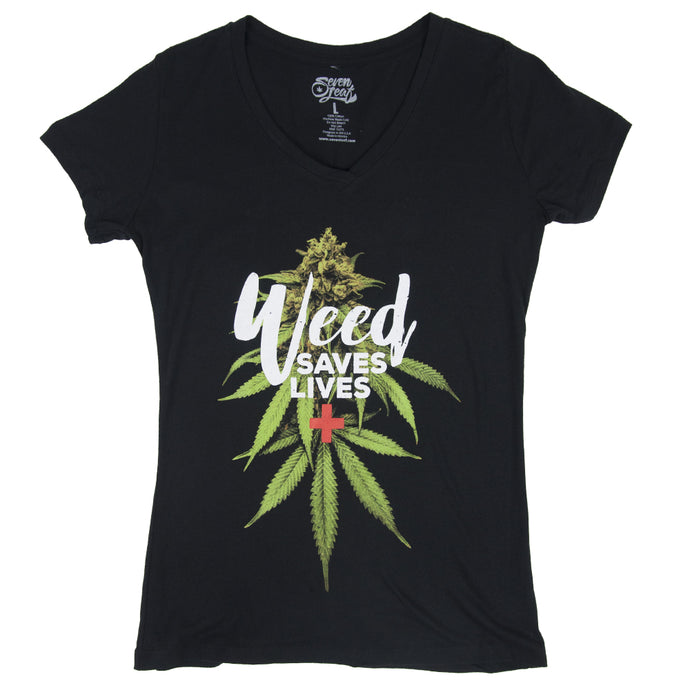WEED SAVES LIVES BLACK T-SHIRT WOMEN'S