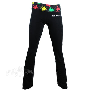 BOB MARLEY STIR IT UP BLACK YOGA PANTS BY RASTAEMPIRE