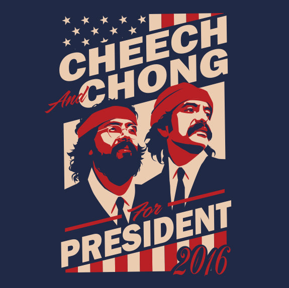 CHEECH AND CHONG FOR PRESIDENT 2016 LICENSED HAT PIN