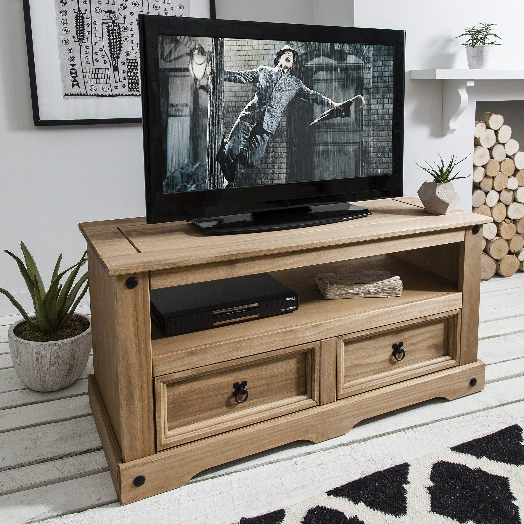 Solid Wood TV Unit - Pine - Laura James