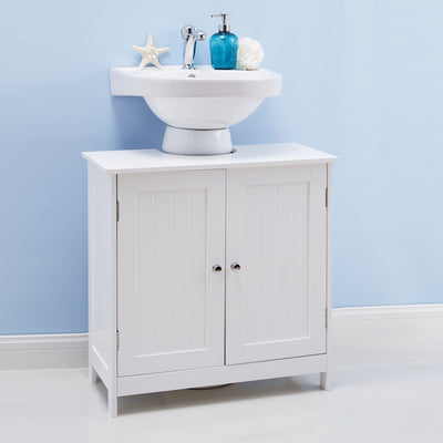 Under Sink Bathroom Cabinet White Painted - Laura James