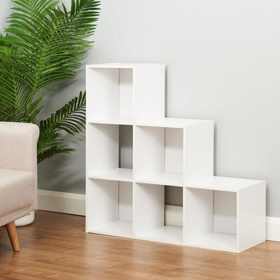 6 Cube Bookcase Ladder Storage Unit / White - Laura James