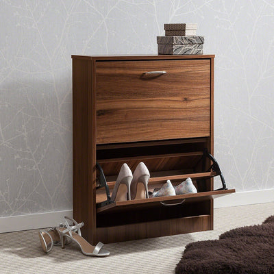 Shoe Cabinet Wooden Storage Organizer Footwear 2 Drawer Rack (Walnut) - Laura James