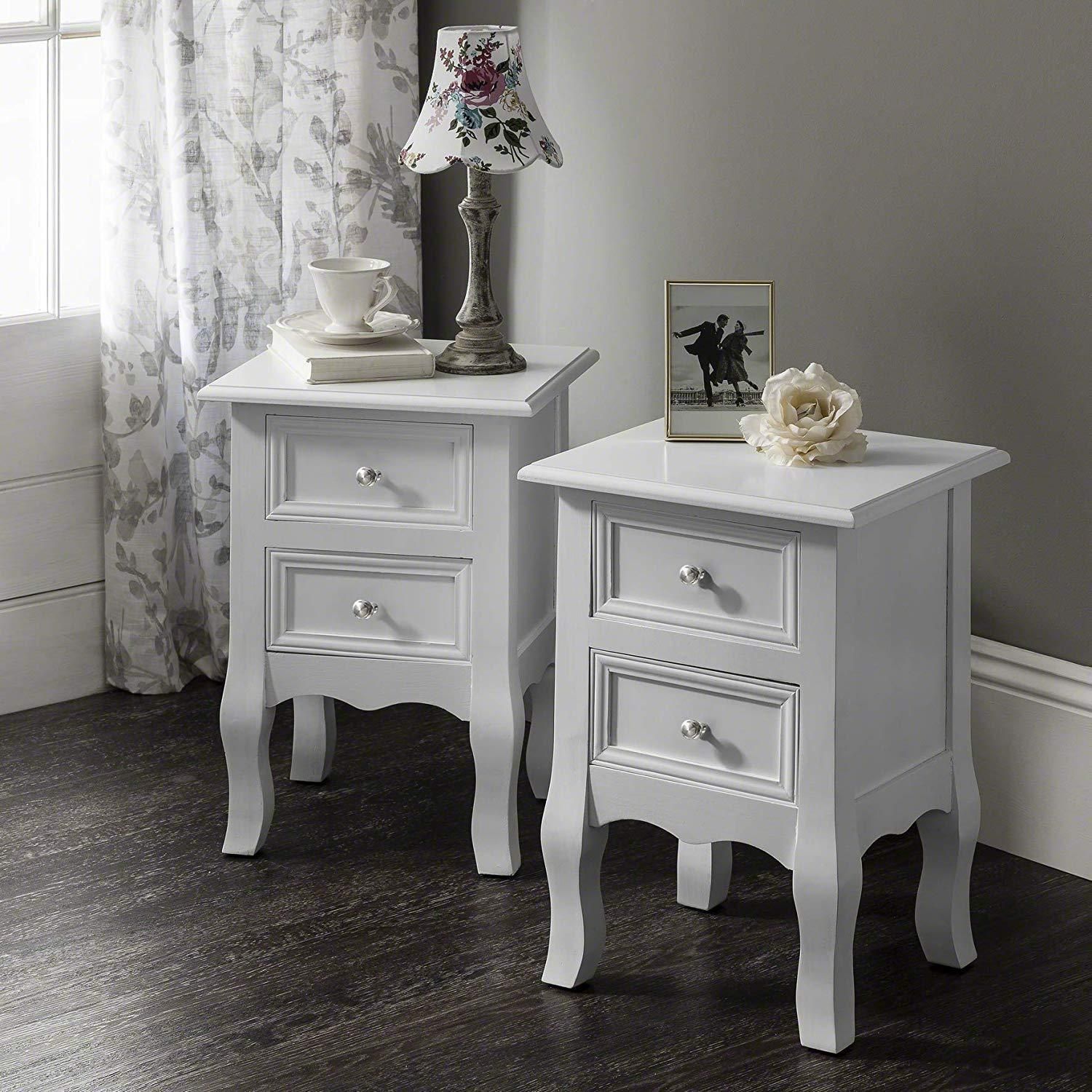White Bedside Tables (2 Units) Fully Assembled - Laura James