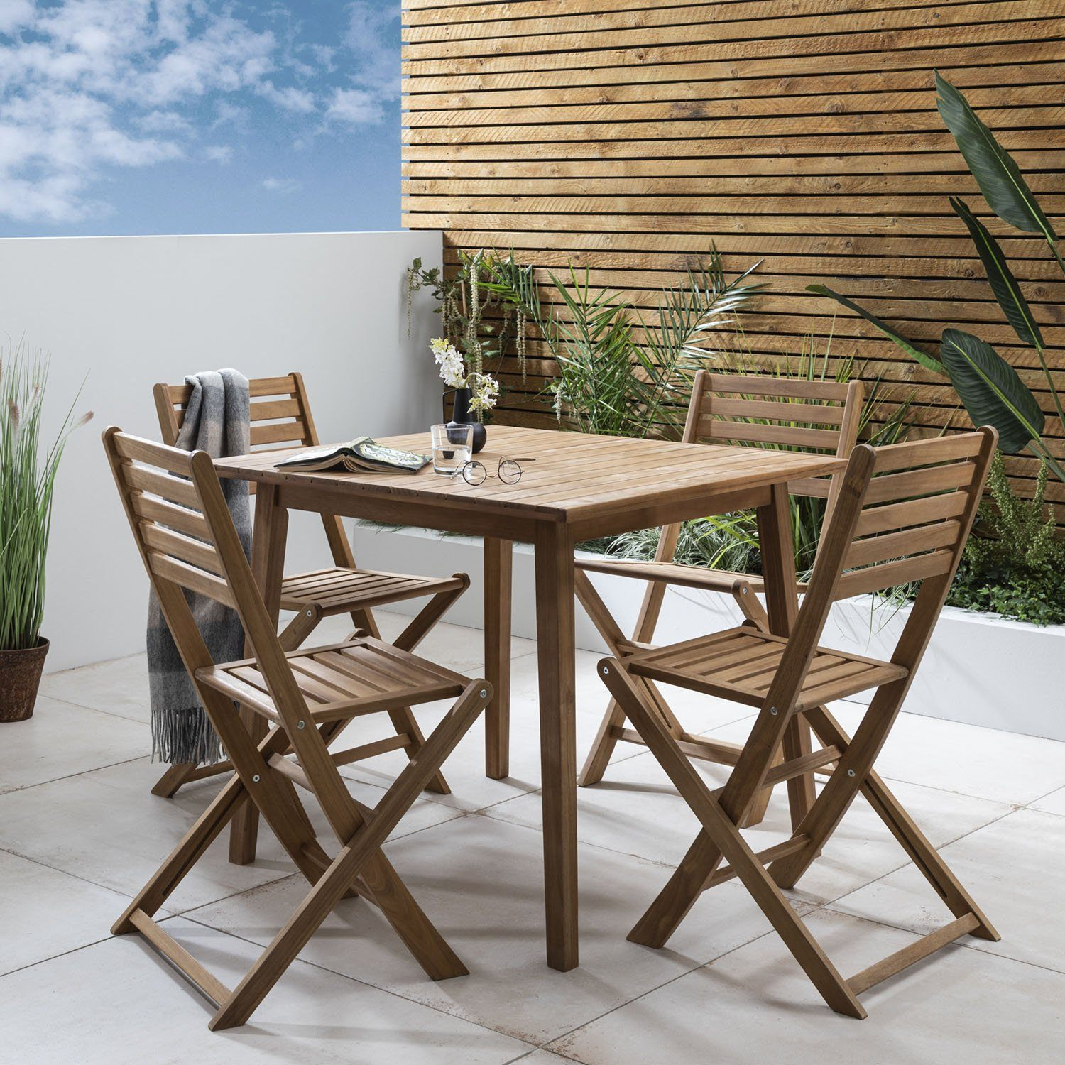 Ackley outdoor dining set – solid acacia wood – 4 seater - Laura James