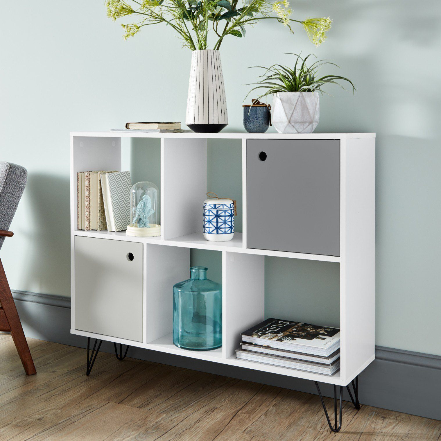 Anderson White Mid Century Modern storage unit with grey cupboards - Laura James