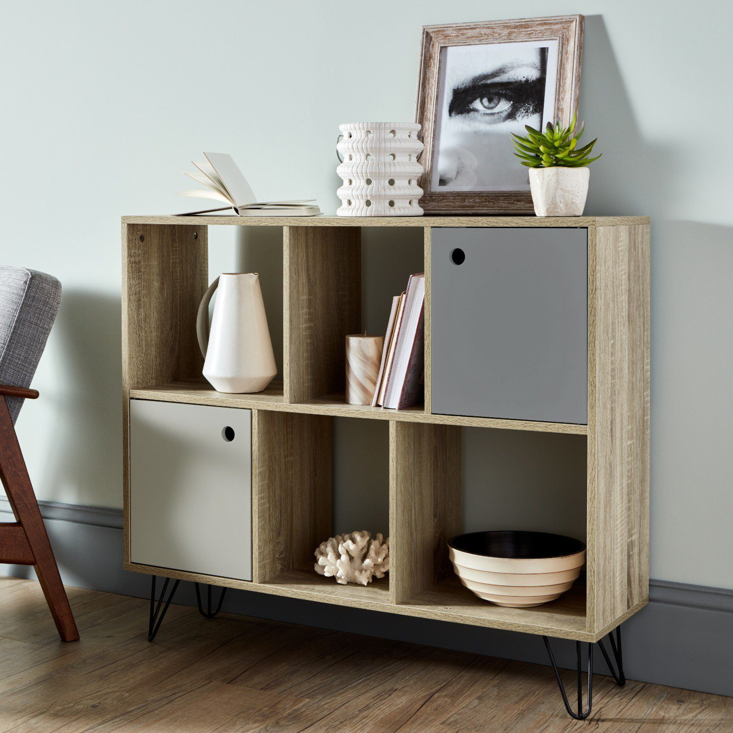 Anderson Oak Effect Mid Century Modern storage unit with grey cupboards - Laura James