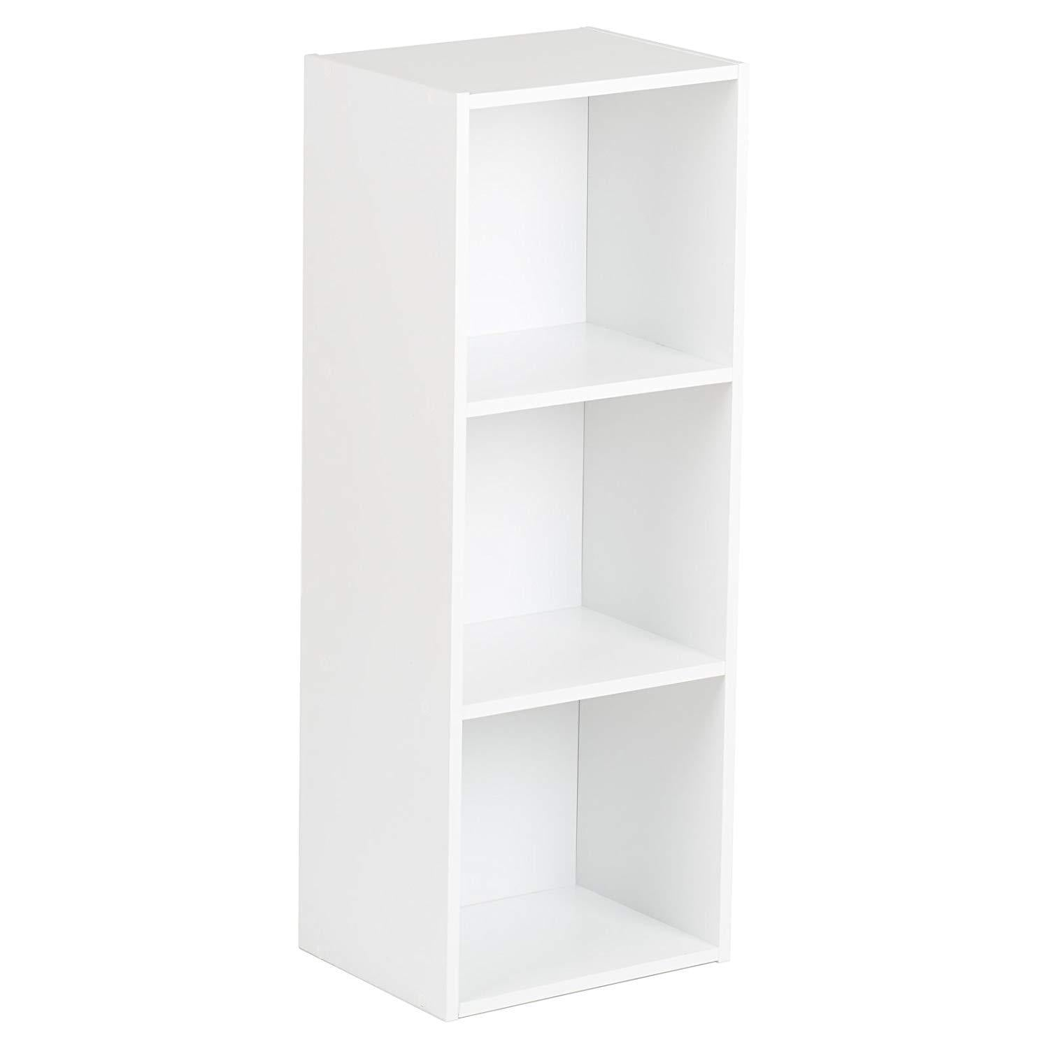 3 Tier White Bookcase Wooden Display Shelving Unit with storage box (No Basket) - Laura James