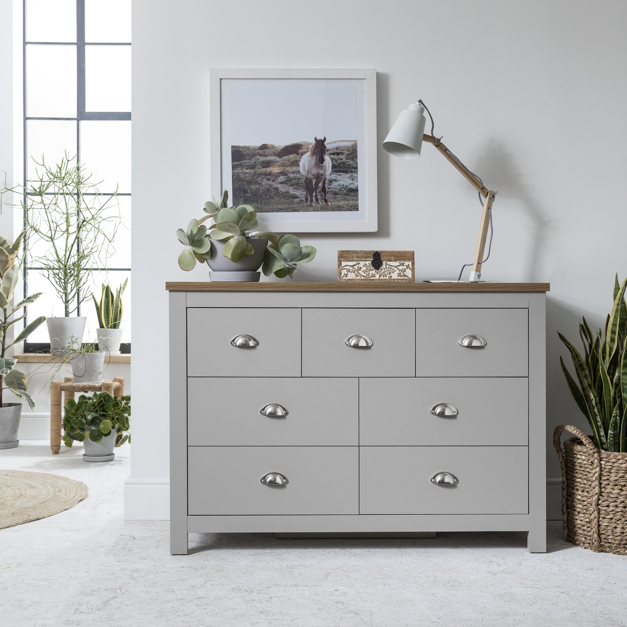 3 Over 4 - Chest of Drawers in Grey - Bampton