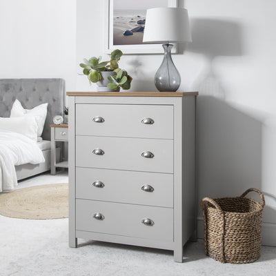 Chest of 4 Drawers in Grey