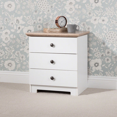 White Bedside Table With 3 Drawers - Laura James