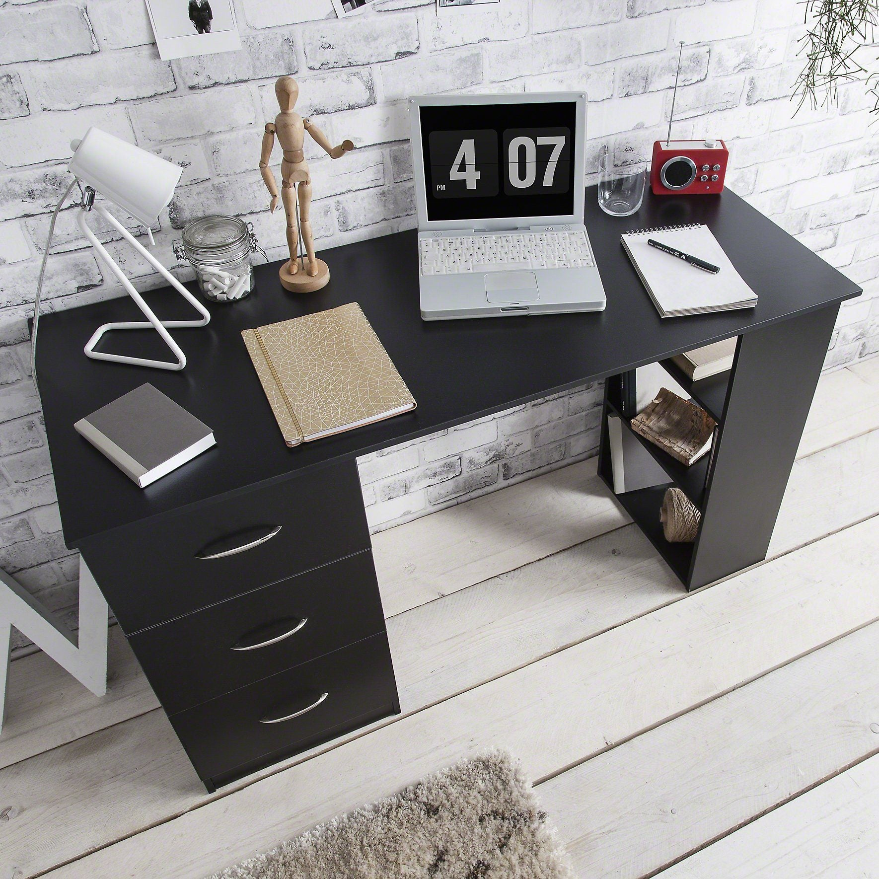 Black Computer Desk With 3 Drawers / 3 Shelves - Laura James
