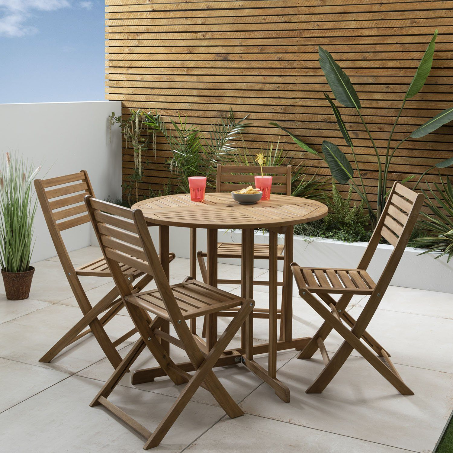 Casey outdoor dining set – solid acacia wood – 4 seater - Laura James