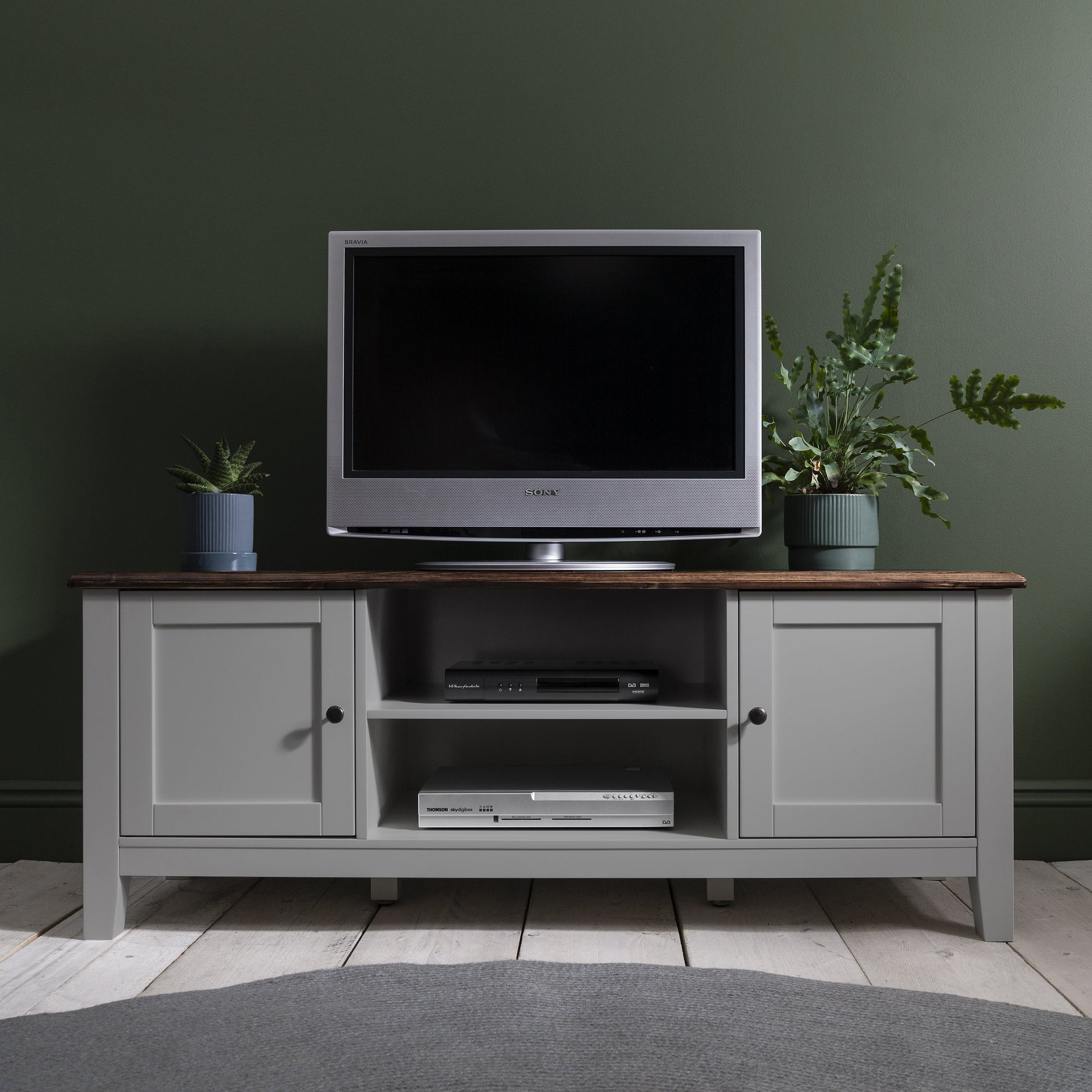 Grey Wooden TV Unit with storage - Chatsworth Cabinet - Laura James