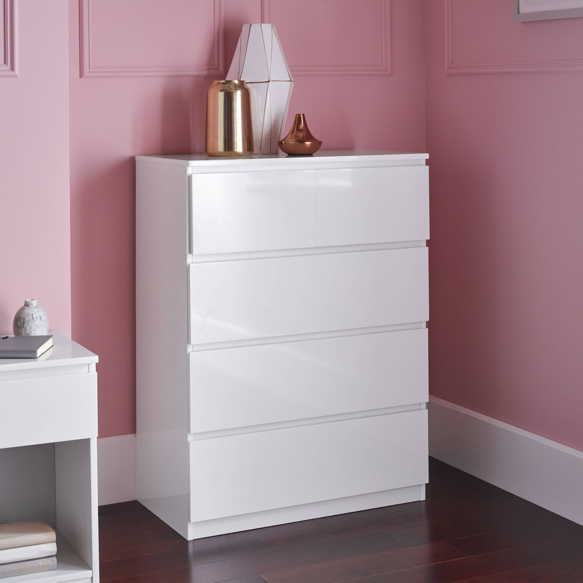 Clemmie high gloss 2 over 3 chest of drawers - white - Laura James