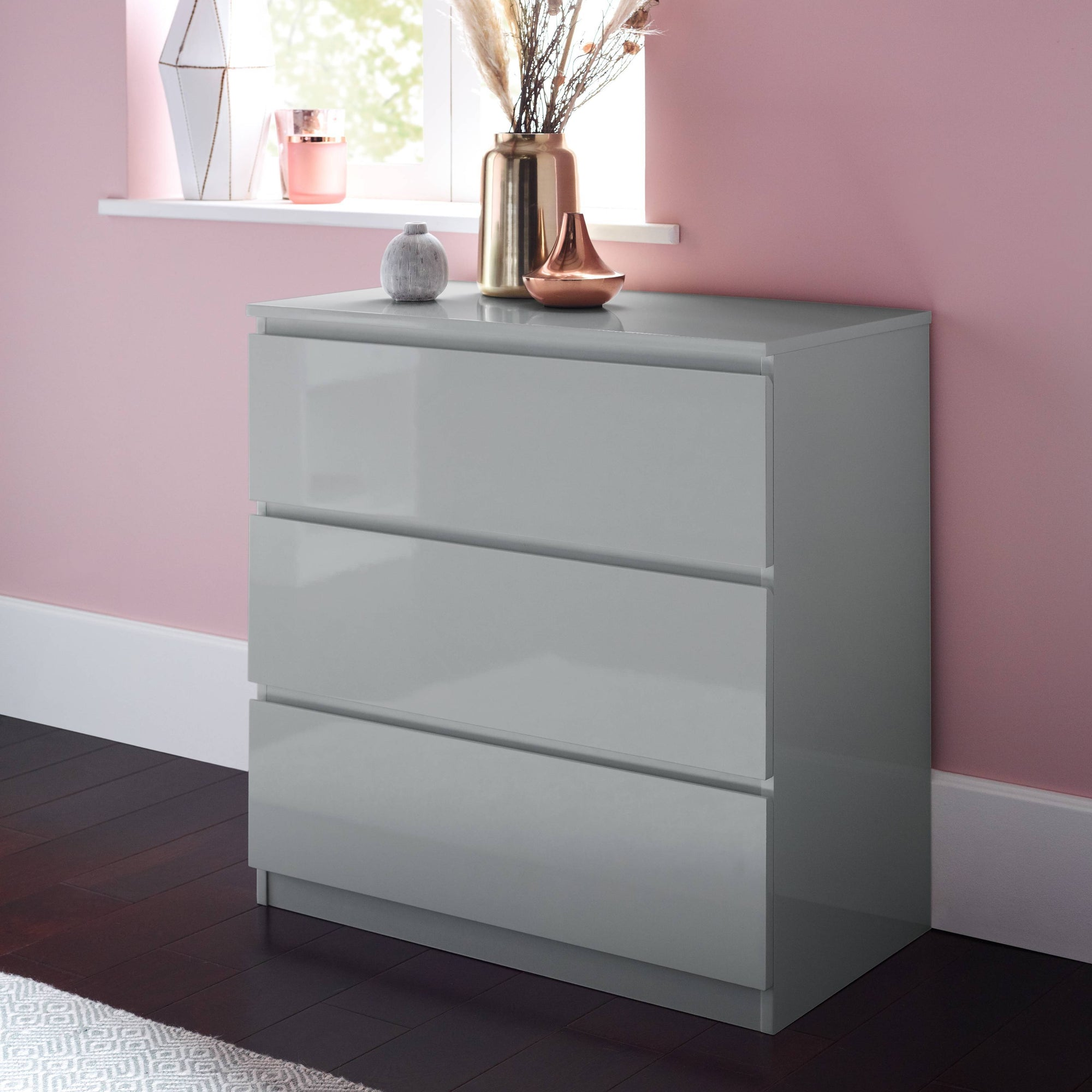 Clemmie high gloss chest of drawers - grey - Laura James