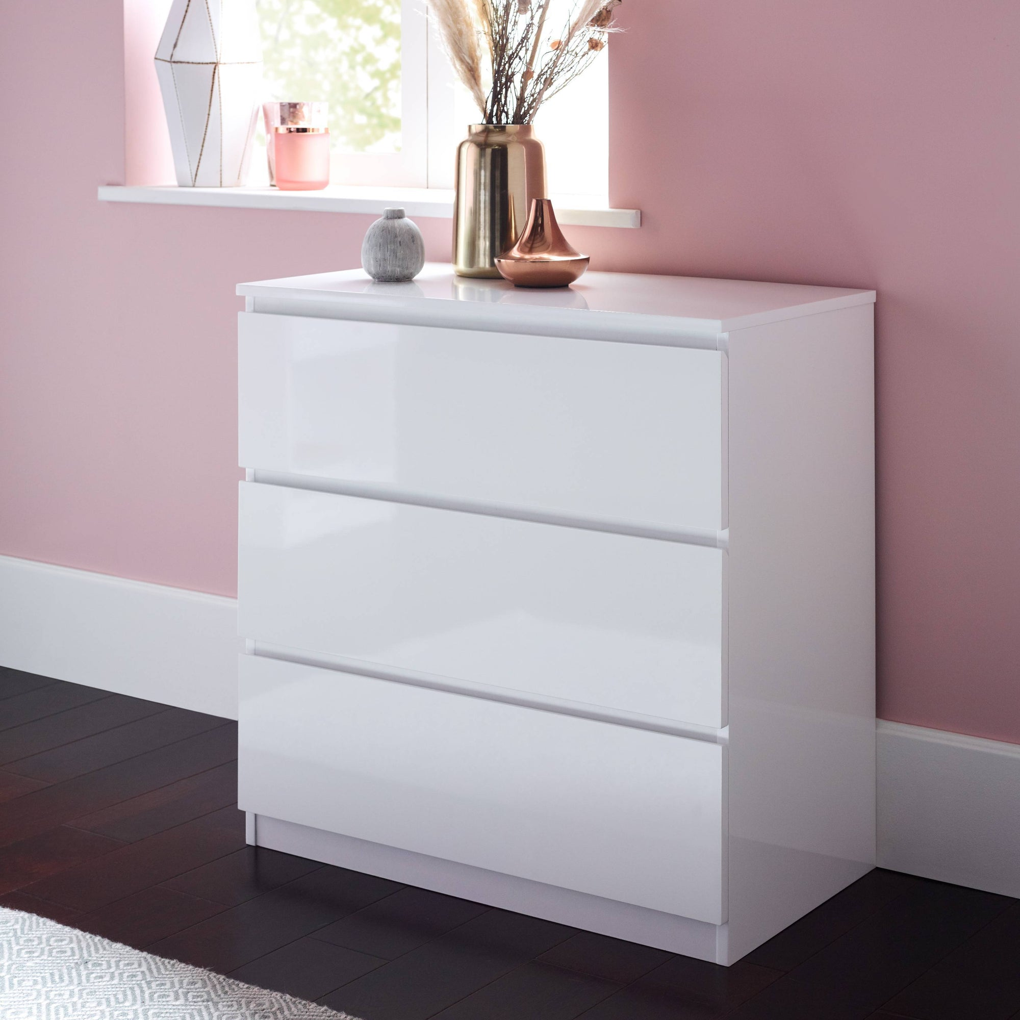 Clemmie high gloss chest of drawers - white - Laura James