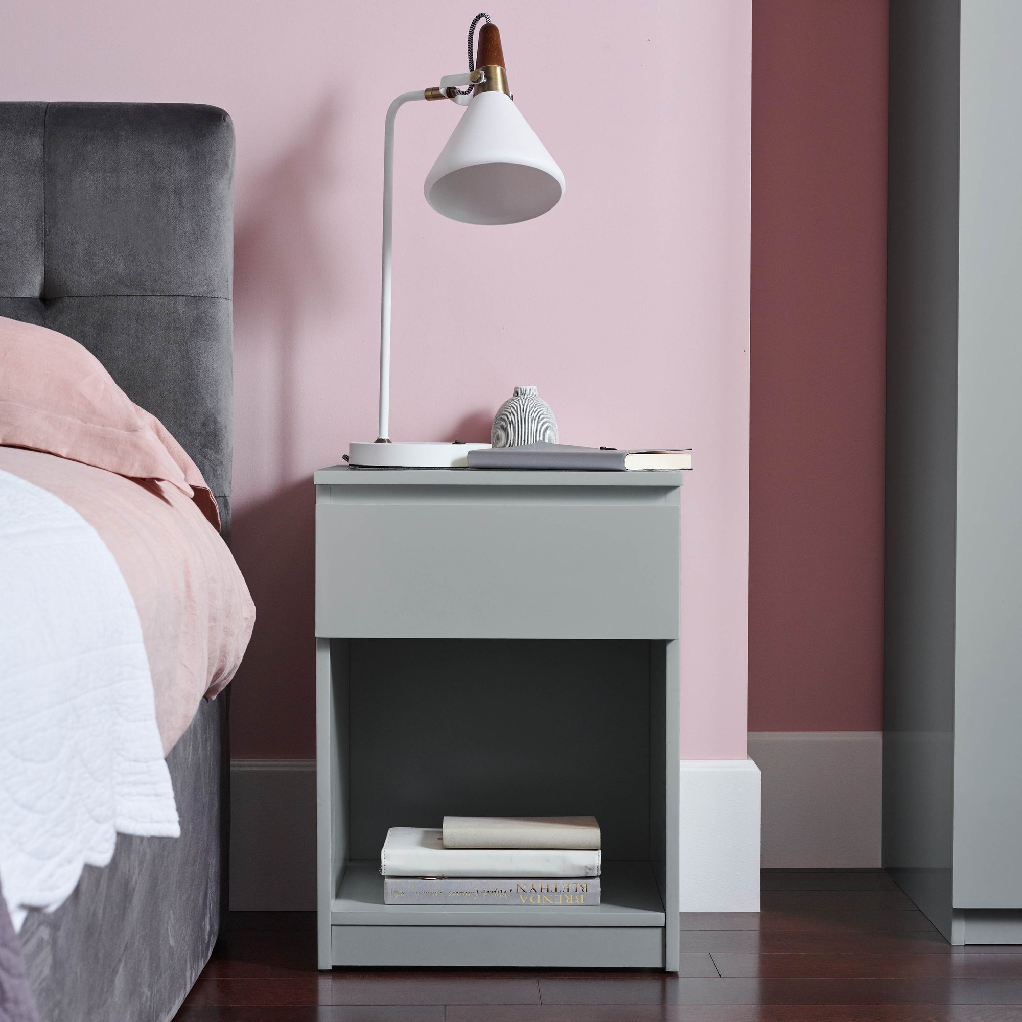 Clemmie high gloss bedside table - grey - Laura James