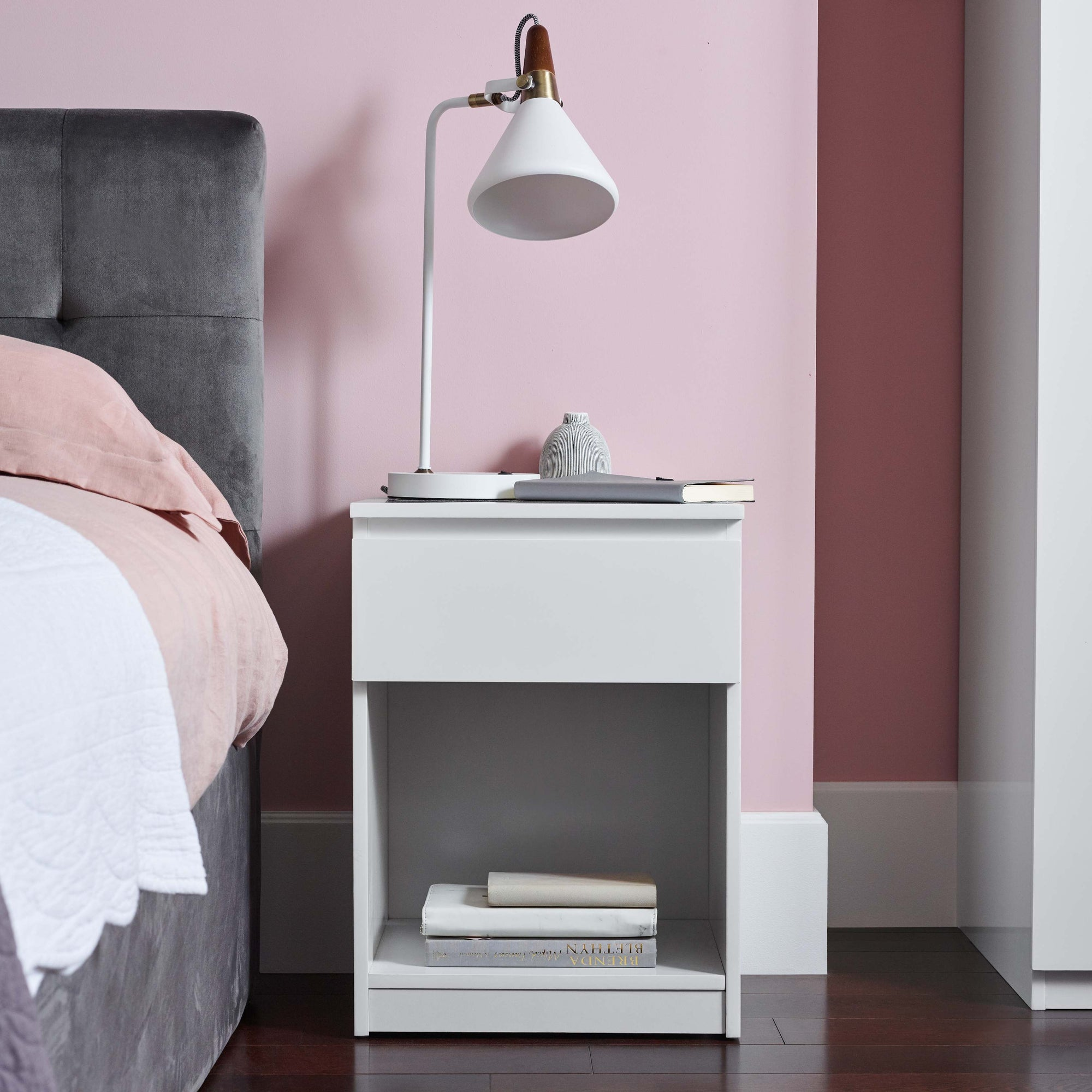 Clemmie high gloss bedside table - white - Laura James