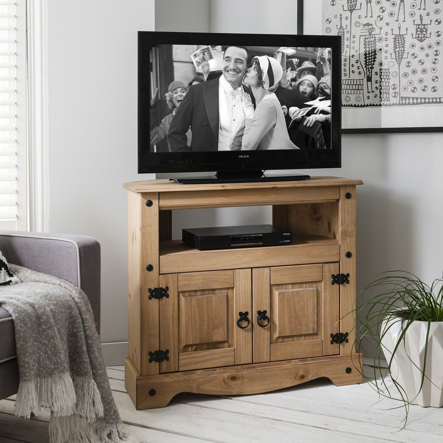 Corona Corner TV Unit Cabinet - Solid Wood - Laura James