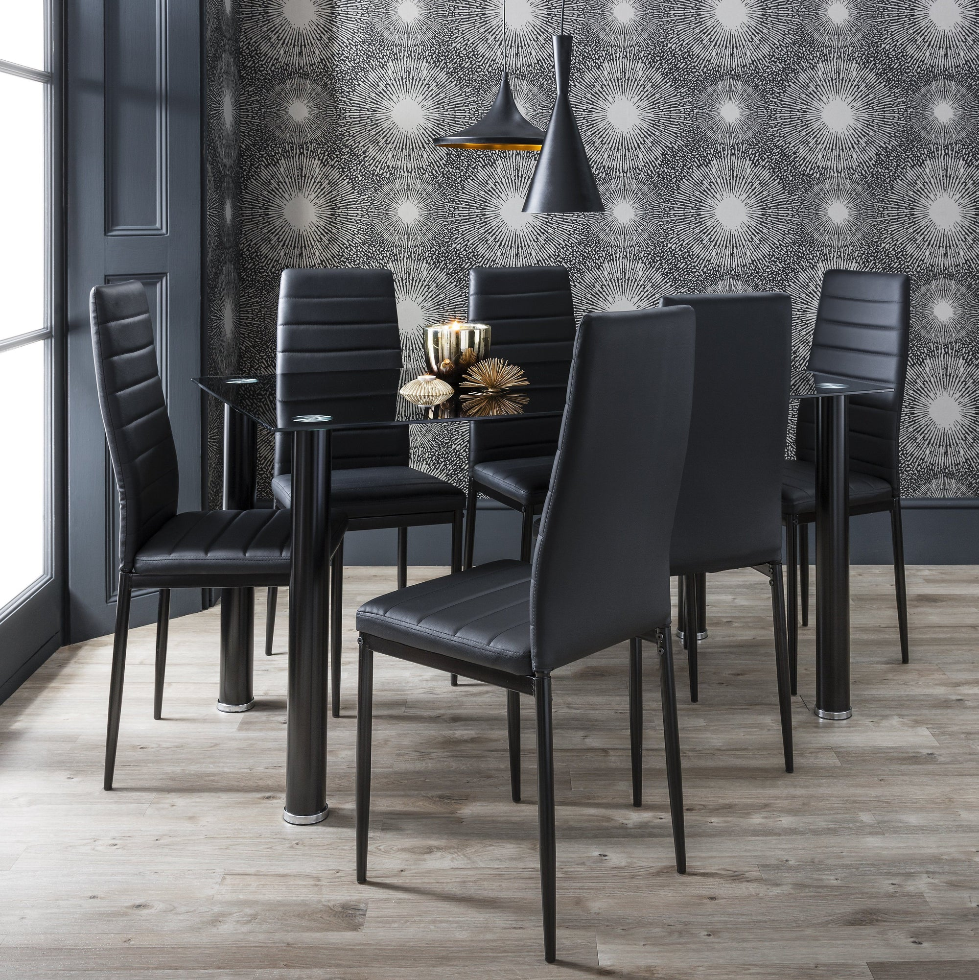Laura James - Glass Dining Table Set and 6 Chairs Set Black - Laura James