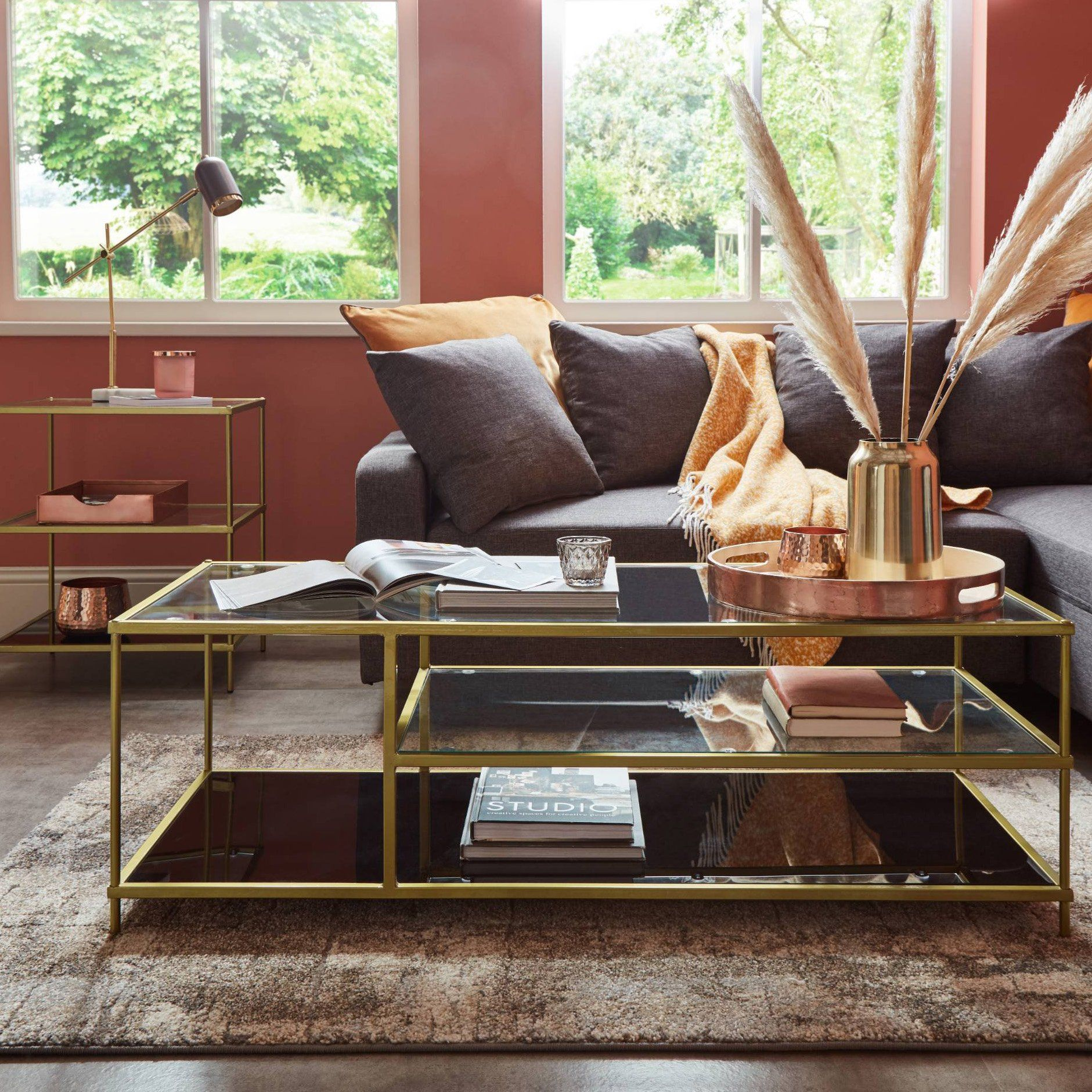 Evelyn coffee table - antique brass - Laura James