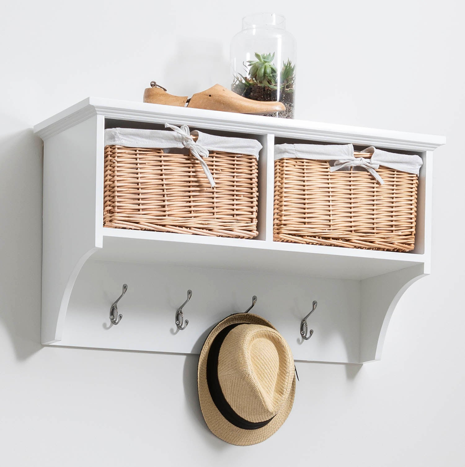 Fyfield Coat Rack with Shelf & Storage Baskets - White