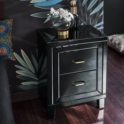 Aleanor Glass Mirrored Bedside Table, 2 drawer - black - Laura James