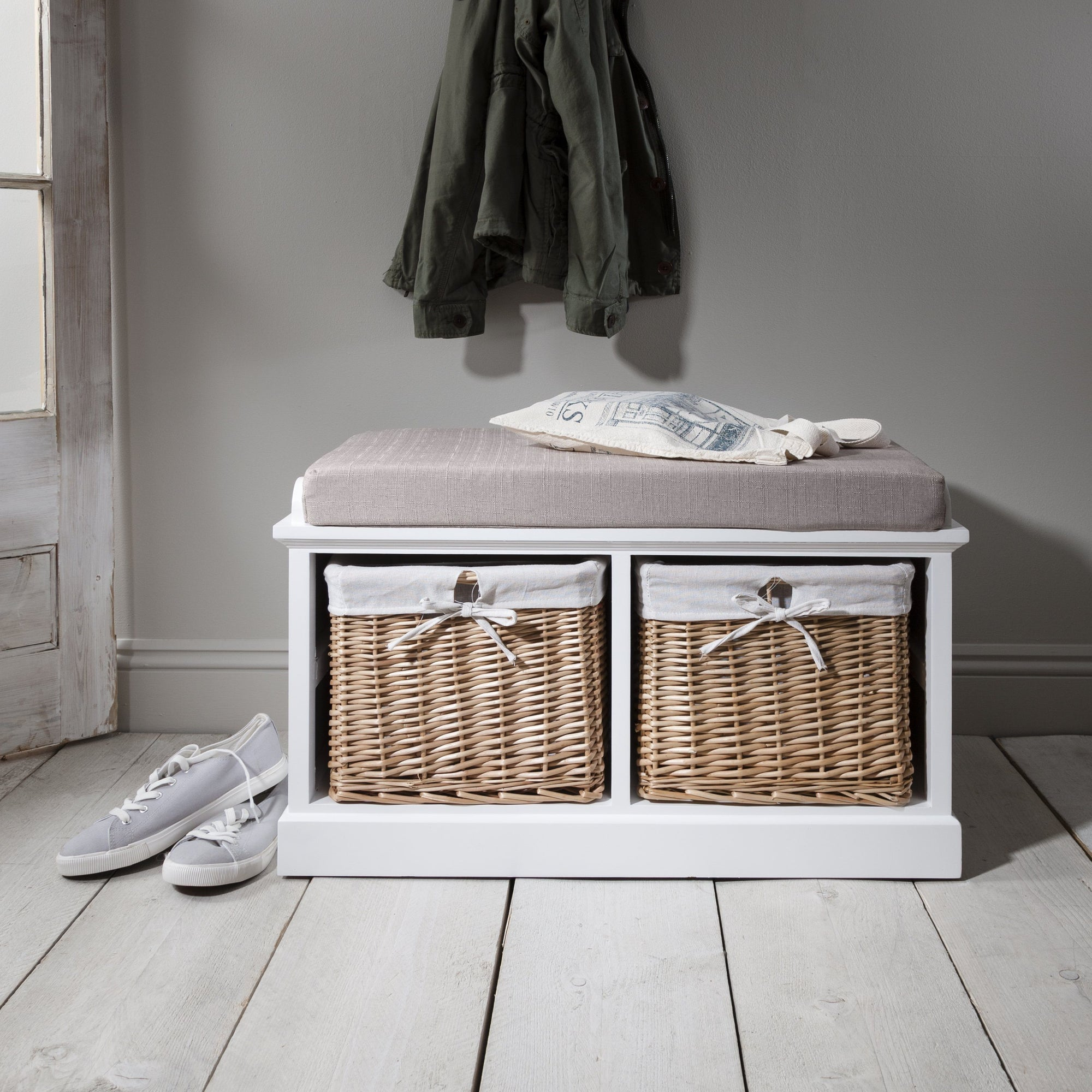 Hallway Shoe Storage Bench in White with cushion - PRE-ORDER - IN STOCK – 18 - 19 September - Laura James