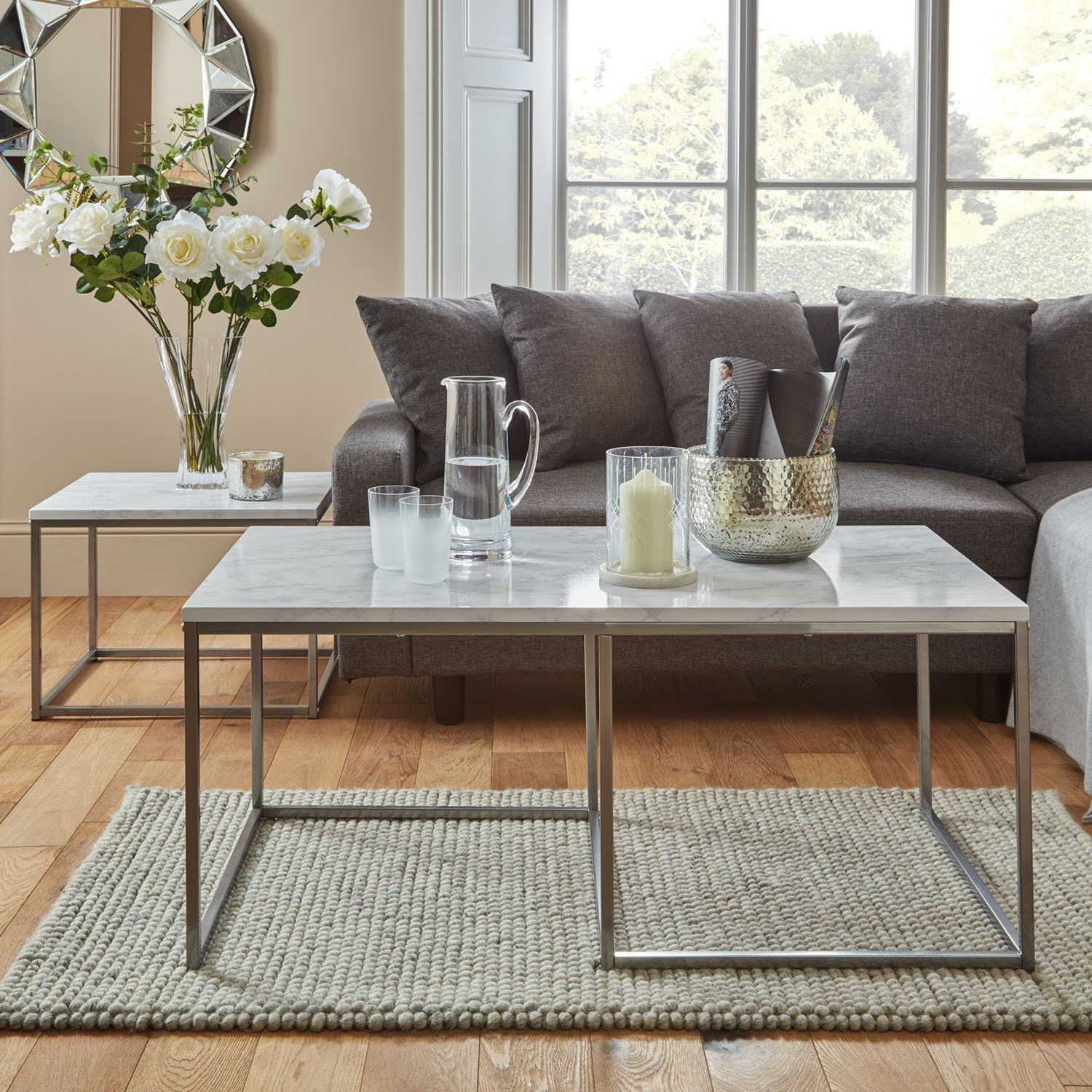 Jay Coffee Table - Marble effect and chrome - Laura James