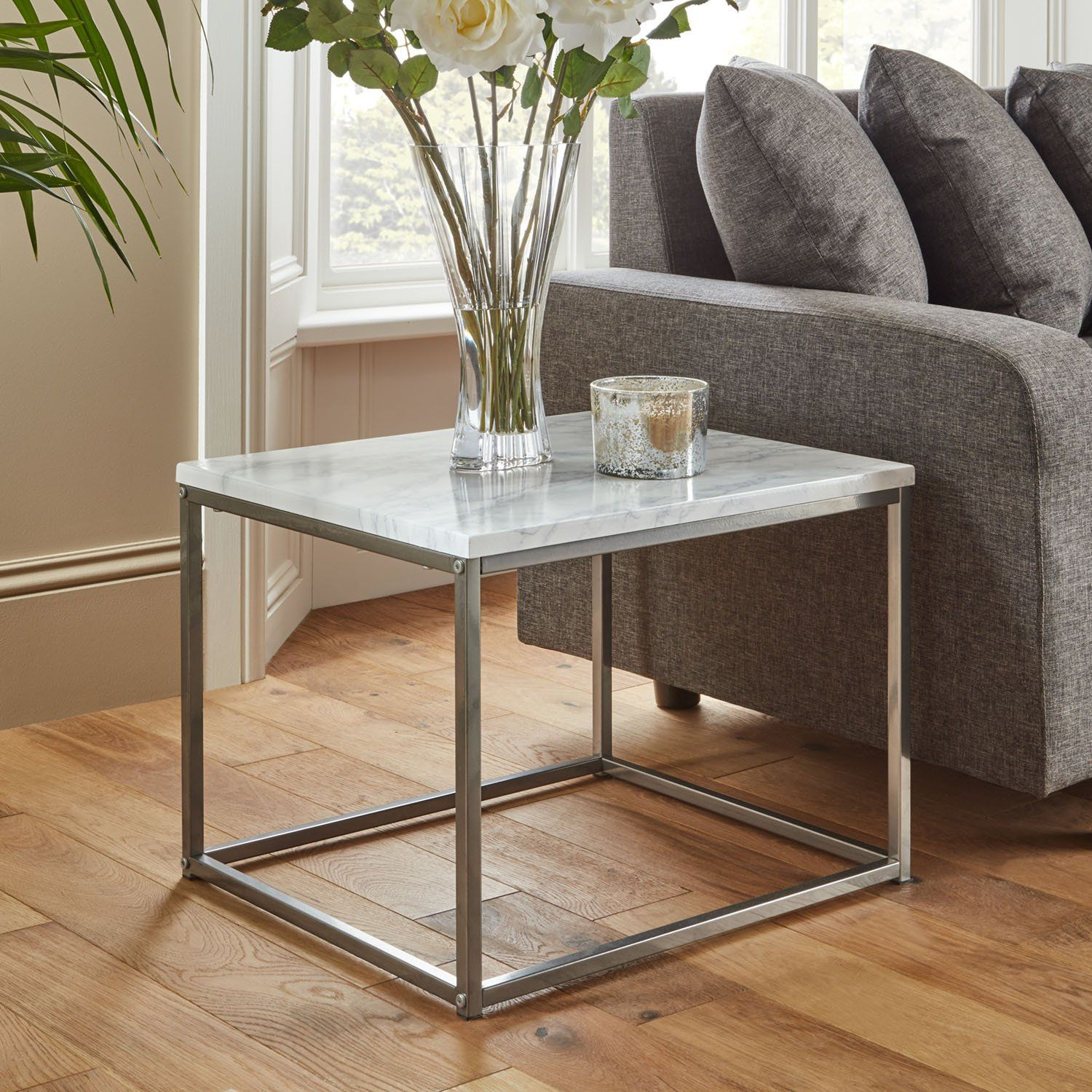 Jay side table - marble effect and chrome - Laura James