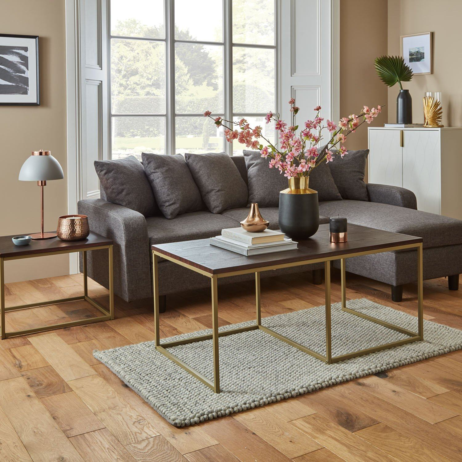 Jay coffee table - walnut effect and brass - Laura James