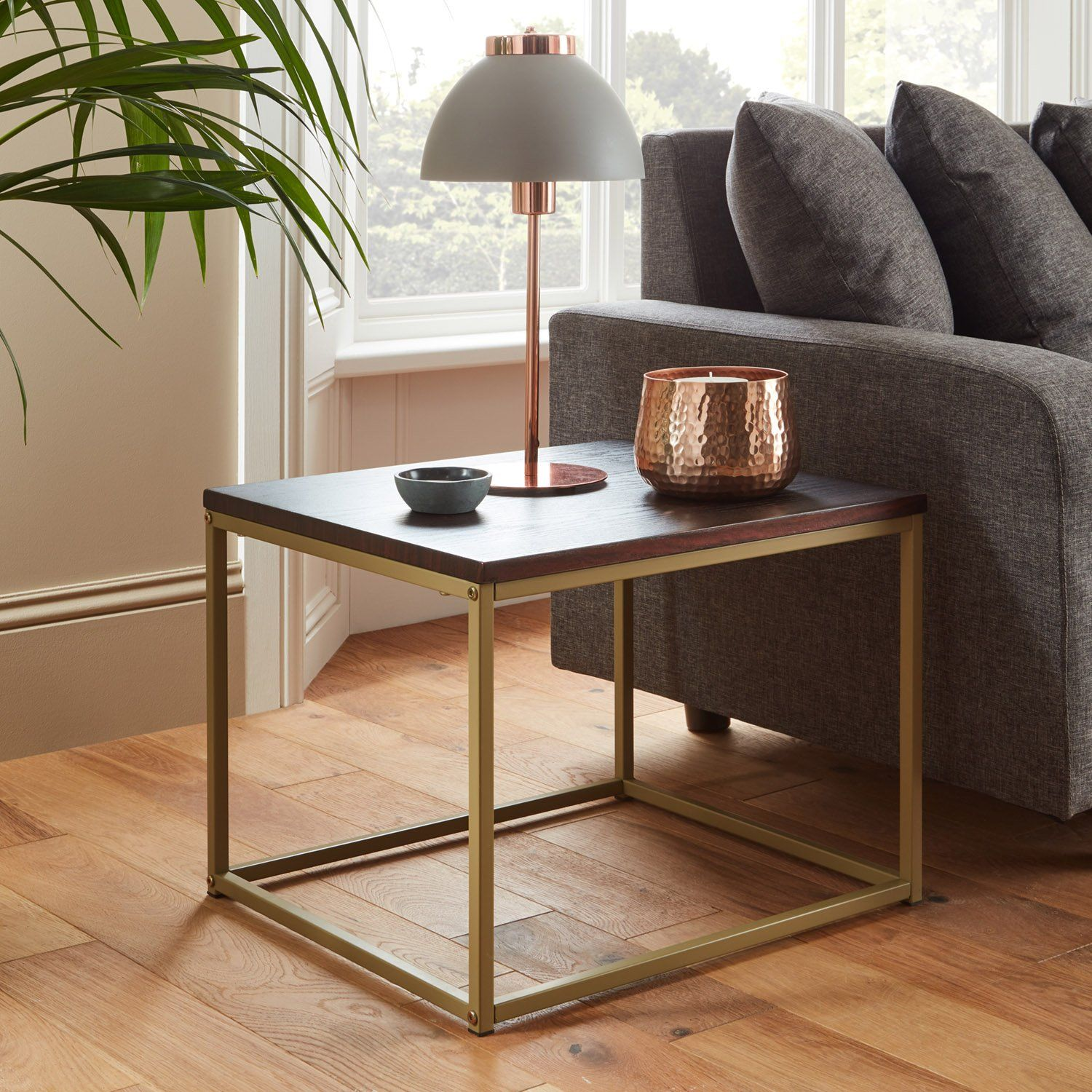 Jay side table - walnut effect and brass - Laura James