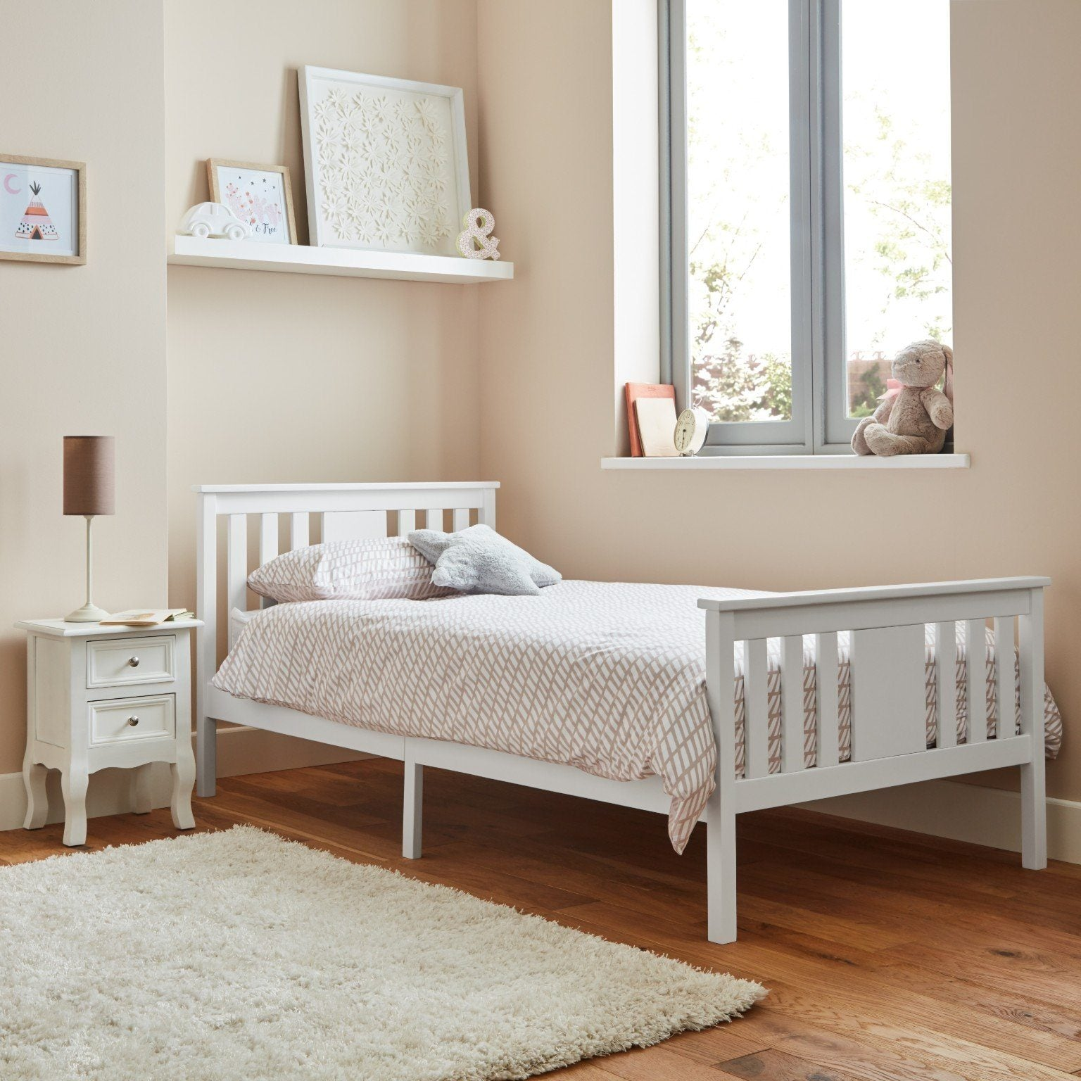 White wooden single bed - Laura James