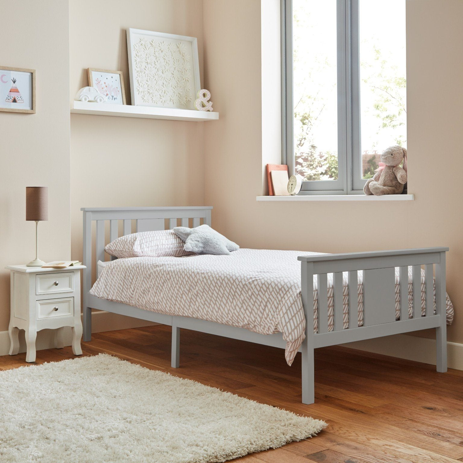 Grey wooden single bed  - Laura James