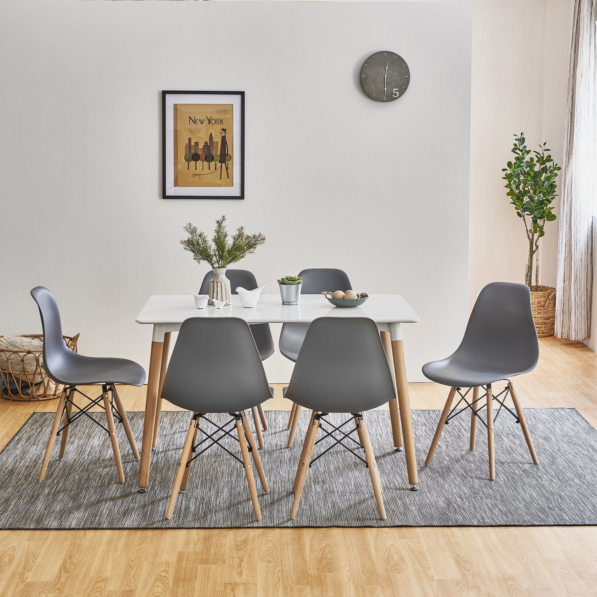 Inge Dining Table and Chairs Set with 6 Dark Grey Chairs - Laura James