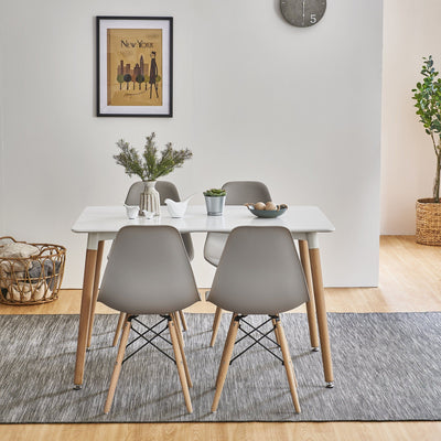 Inge Dining Table and Chairs set with 4 Light Grey Chairs - Laura James