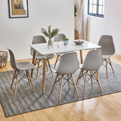 Inge Dining Table and Chairs Set with 6 Light Grey Chairs - Laura James