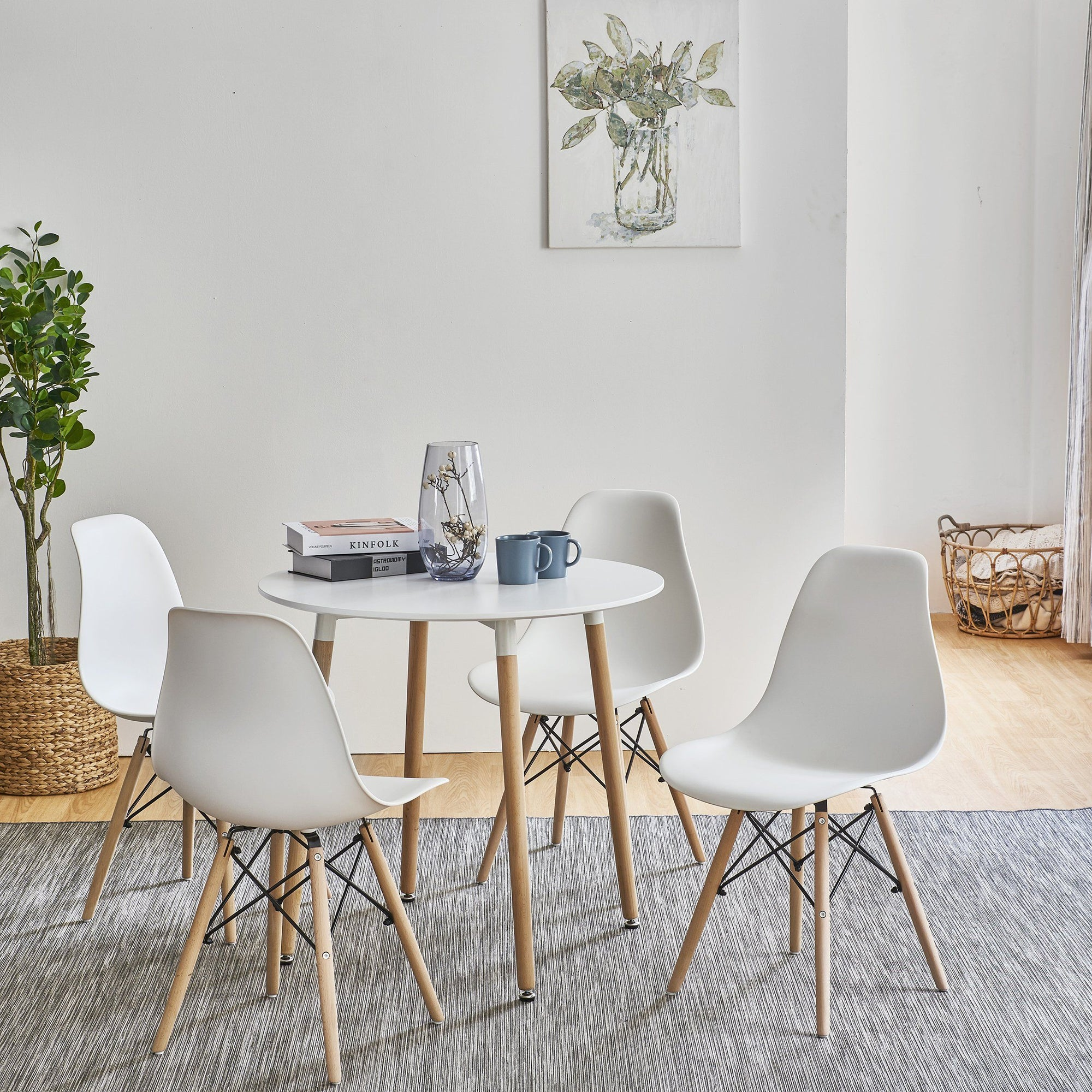 Inge Round Kitchen Table with 4 White Chairs - Laura James